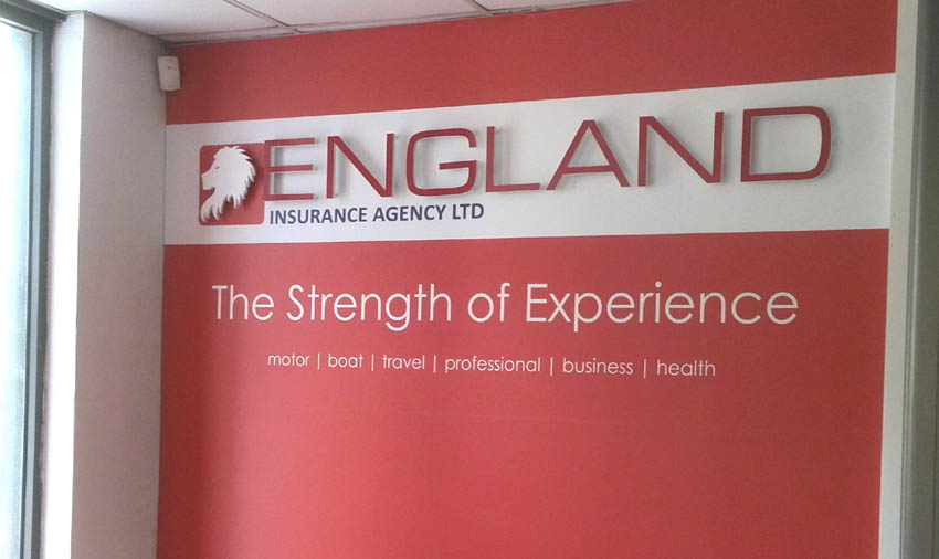 This wallpaper with a 3D PVC lion head and letters is part of the new interior design for the office of England Insurance Agency.